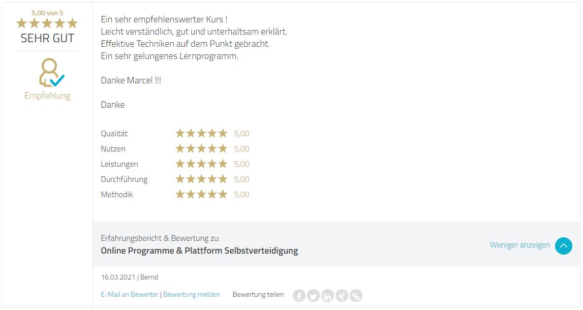Proven Export Bewertung Selbstverteidigung Online Coaching - Marcel Descy